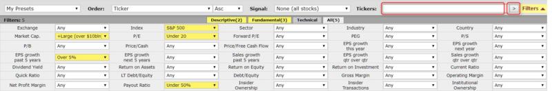 配当再投資に向いたFinvizの検索条件